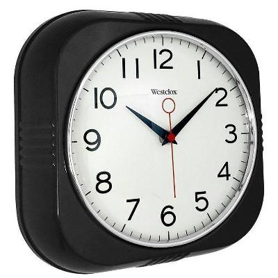 """9.5"""" Retro Wall Clock Black - Westclox"""