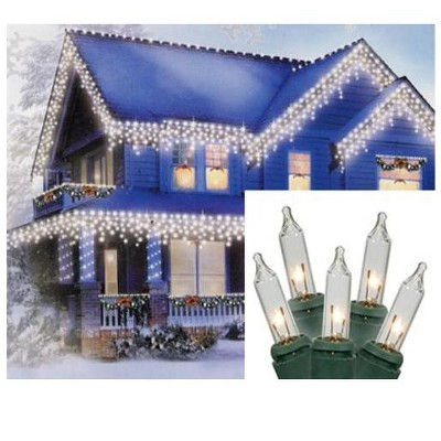 Merry and Light 100-Count Clear Mini Icicle Christmas Lights - 5.8ft Green Wire