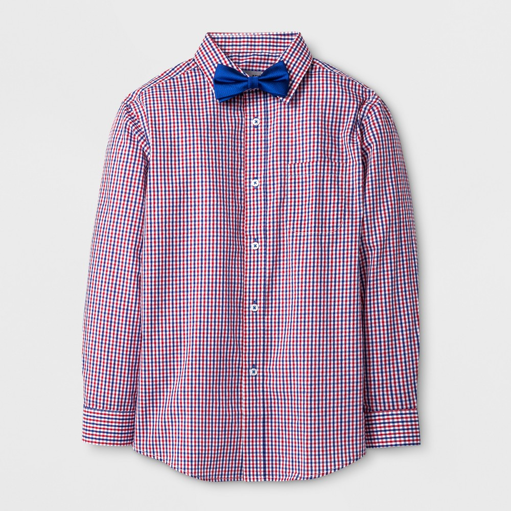 Boys' Long Sleeve Plaid Button-Down Shirt With Bow Tie - WD.NY Black - Red/Navy S
