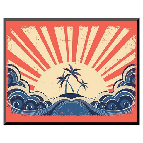 Art.com Paradise Island On Grunge Paper Background With Sun - Mounted Print - image 1 of 2