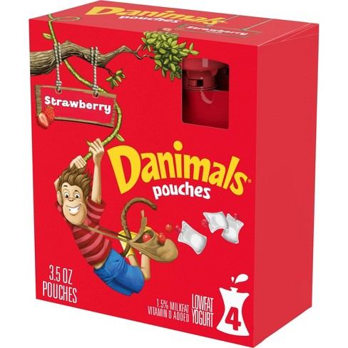 Dannon Danimals Strawberry Kids' Yogurt Pouches - 4pk/3.5oz pouches - image 1 of 4