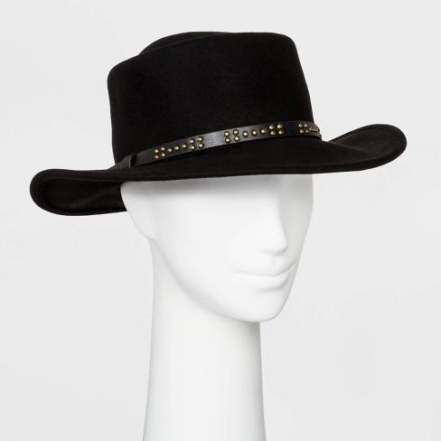 Women's Felt Boater Hat - Universal Thread™ Black - image 1 of 1