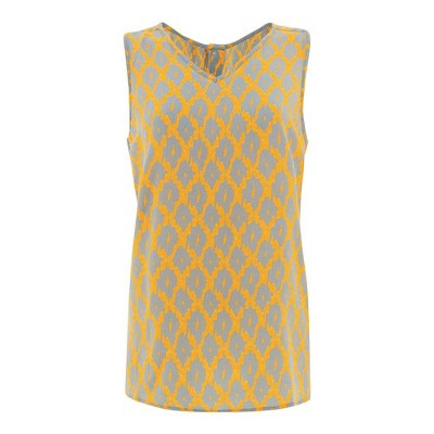 Aventura Clothing Womens Diamond Standard Fit Sleeveless V Neck Tank Top - Yellow Medium