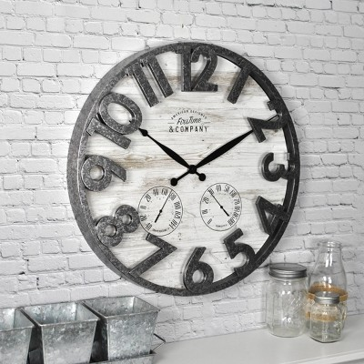 FirsTime 18  Shiplap Outdoor Wall Clock
