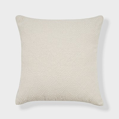 "18""x18"" Geometric Chenille Woven Jacquard Reversible Square Throw Pillow White - freshmint"