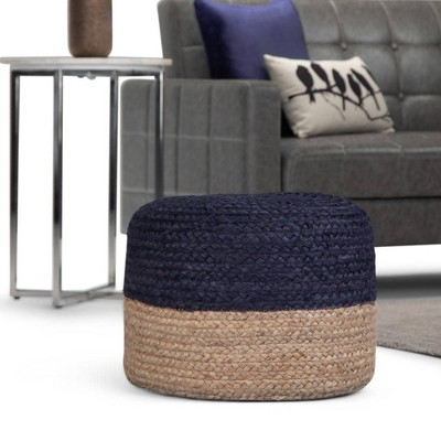 Maron Contemporary Round Pouf Pink/Natural - Wyndenhall : Target