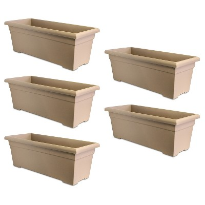 HC Companies ROP28000A34 28-Inch Plastic Romana Deck Planter, Sandstone (5 Pack)