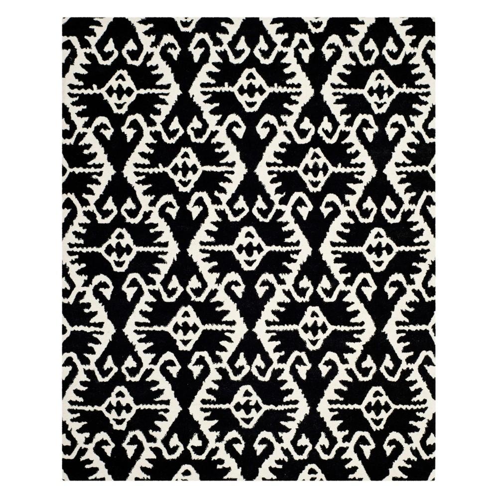8'9X12' Tribal Design Tufted Area Rug Black/Ivory - Safavieh
