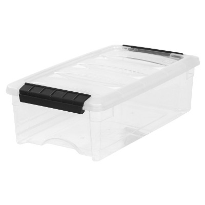 IRIS 12pk 5qt Stack and Pull Storage Bin Latching Clear