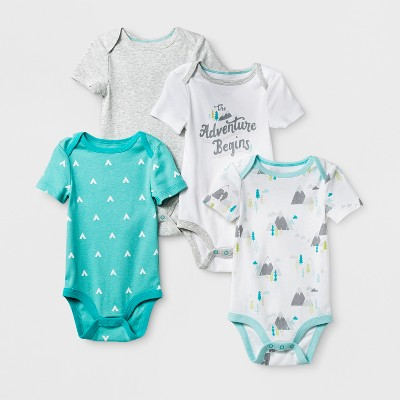 Baby Boys' 4pk Short Sleeve Bodysuit White/Aqua 0-3M - Cloud Island™