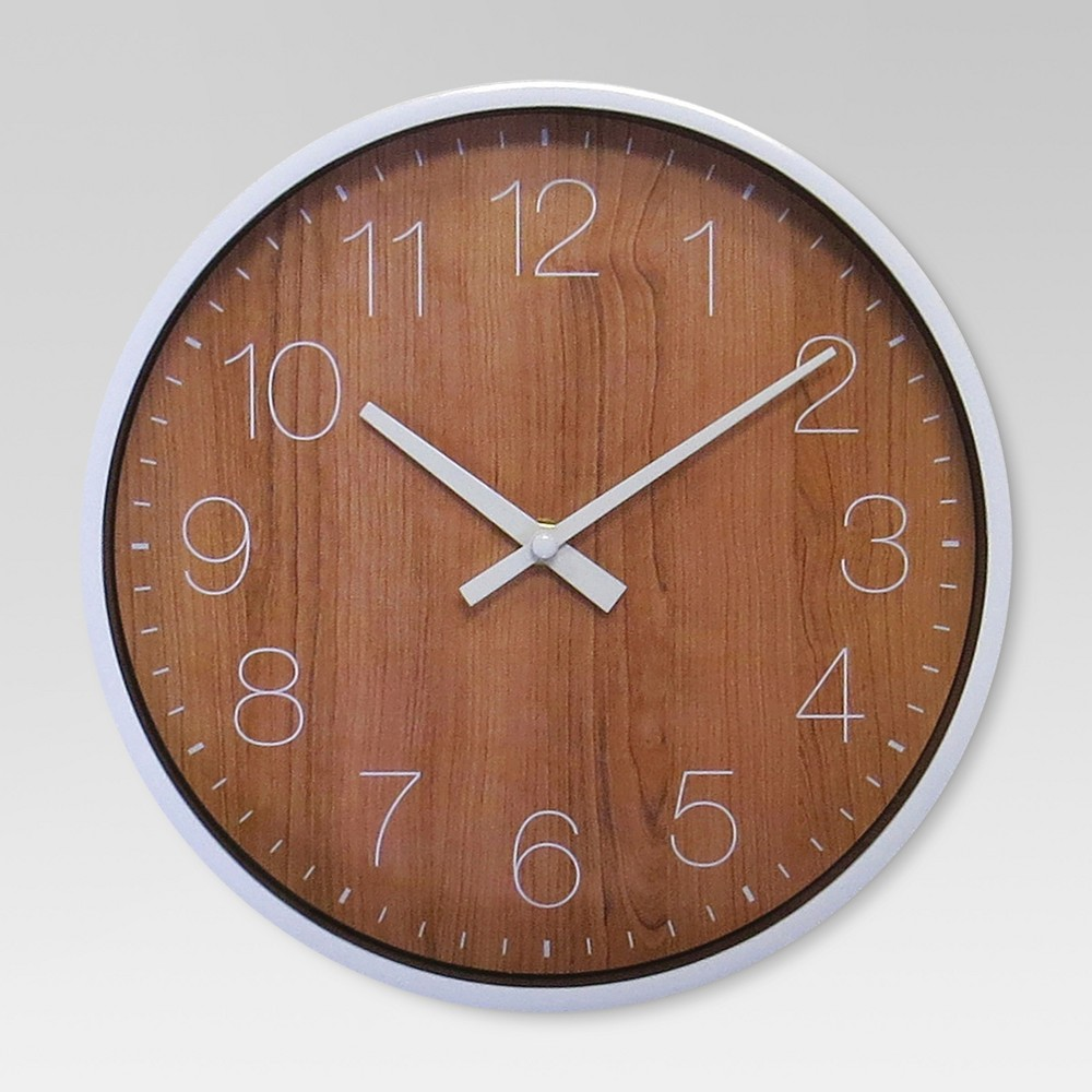 "Image of ""10"""" Round Wall Clock Walnut Finish - Project 62 , Brown"""
