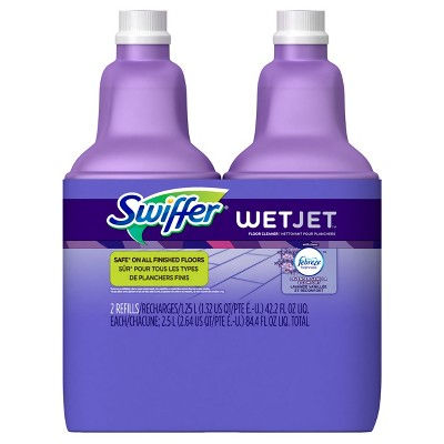 Swiffer Wet Jet Multi-Purpose Floor Cleaner Solution with Febreze Refill Lavender Vanilla and Comfort Scent - 1.25 Liter Pac of 2