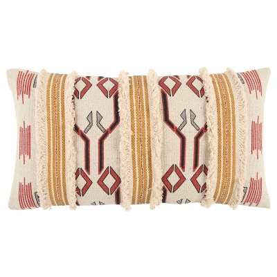 """14""""x26"""" Geometric Polyester Filled Throw Pillow Yellow - Rizzy Home"""