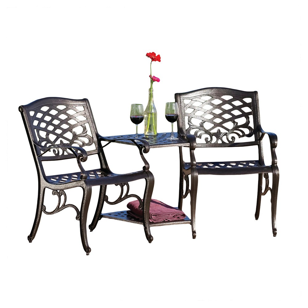 Sarasota Cast Aluminum Adjoining Patio Chair - Bronze - Christopher Knight Home