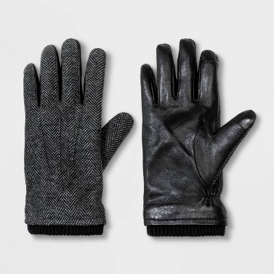 Men's Touch Tech Herringbone Leather Gloves - Goodfellow & Co™ Black