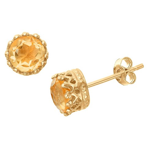 6mm Round-cut Citrine Crown Earrings in Gold Over Silver - image 1 of 1