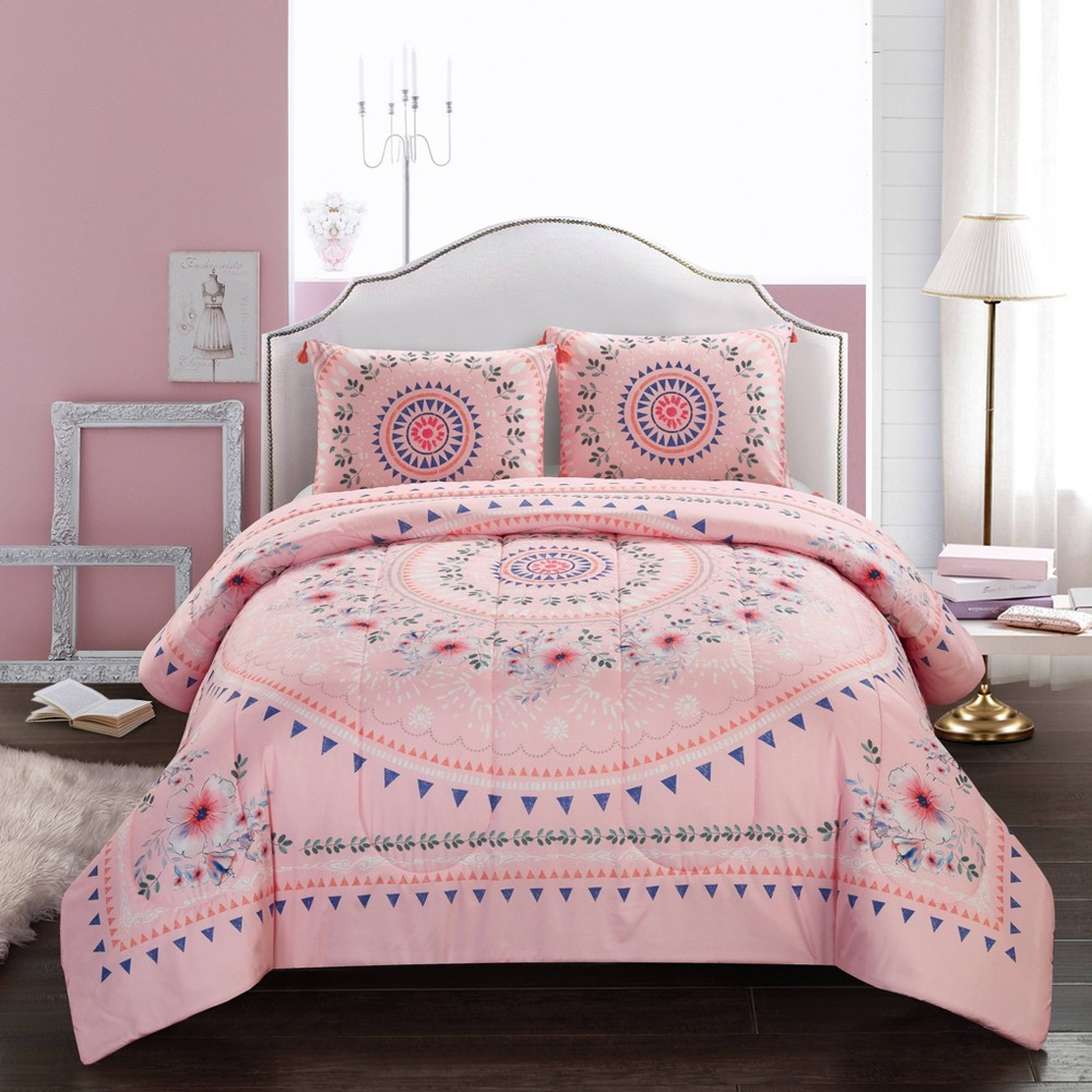 Image of Full/Queen Flowering Medallion Comforter Set Pink- Heritage Club
