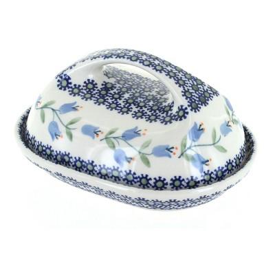 Blue Rose Polish Pottery Tulip Butter Dish