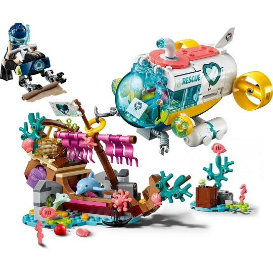 LEGO Friends Dolphins Rescue Mission 41378 Sea Life Building Kit with Toy Submarine and Sea Creatures image number null