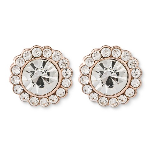 Stud Earring with Pave Flower - Rose Gold - image 1 of 2
