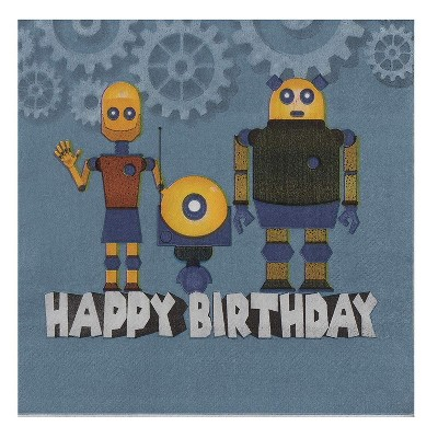 """Blue Panda 150-Pack Disposable Paper Napkins Happy Birthday Party Supplies, Robot 6.5""""x6.5"""", Navy"""