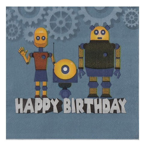 Blue Panda 150 Pack Disposable Paper Napkins Happy Birthday Party Supplies Robot 6 5 X6 5 Navy Target