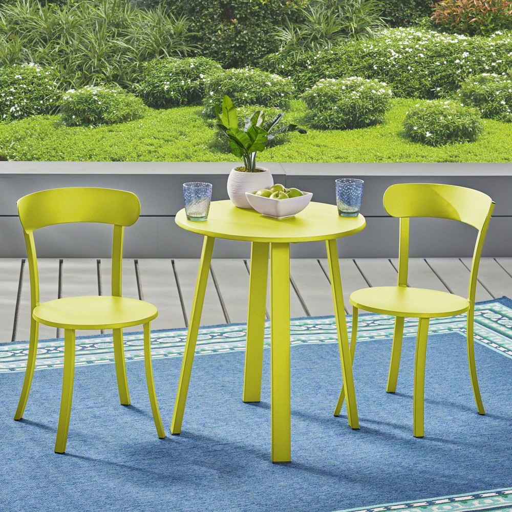 Image of Barbados 3pc Iron Bistro Set - Matte Lime Green - Christopher Knight Home
