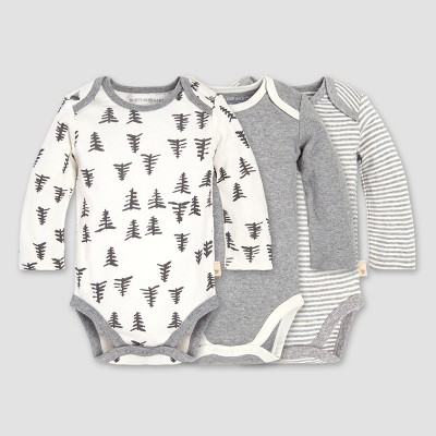 Burt's Bees Baby® Organic Cotton 3pk Tree Bodysuit Set - Heather Gray 0-3M