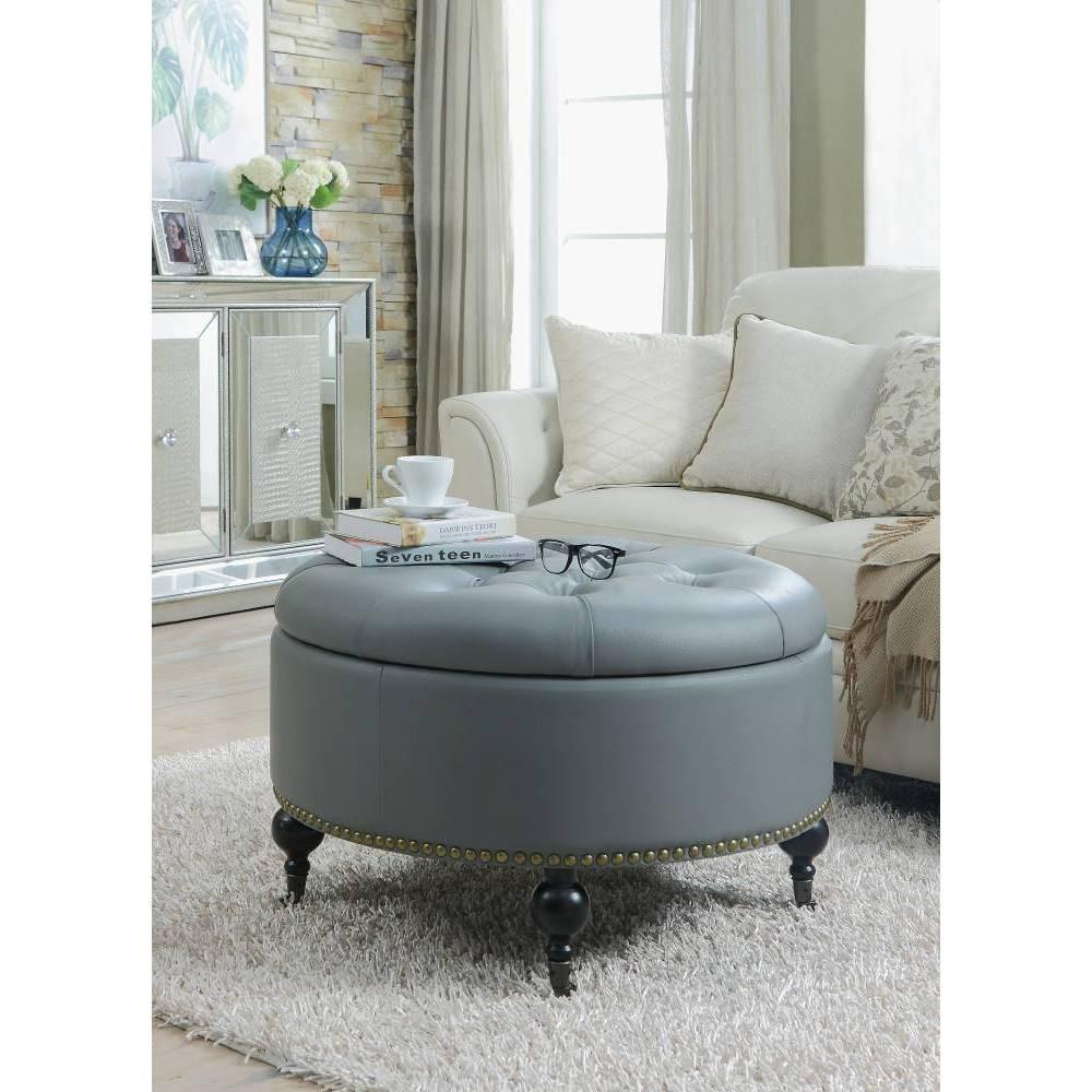 Keller Round Storage Ottoman Gray - Chic Home Design was $269.99 now $188.99 (30.0% off)