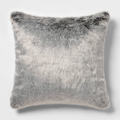 Faux Fur Oversize Square Pillow Neutral/Gray - Threshold™