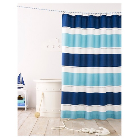 Cool Rugby Stripe Shower Curtain Blue Lake