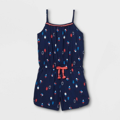 Girls' Americana Woven Sleeveless Romper - Cat & Jack™ Navy