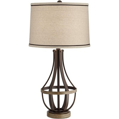 Franklin Iron Works Industrial Farmhouse Table Lamp Oil Rubbed Bronze Light Wood Cage Burlap Linen Drum Shade Living Room Bedroom