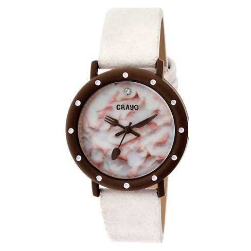 Women's Crayo Slice of Time Watch with Leather Suede-Overlaid Strap- White - image 1 of 3