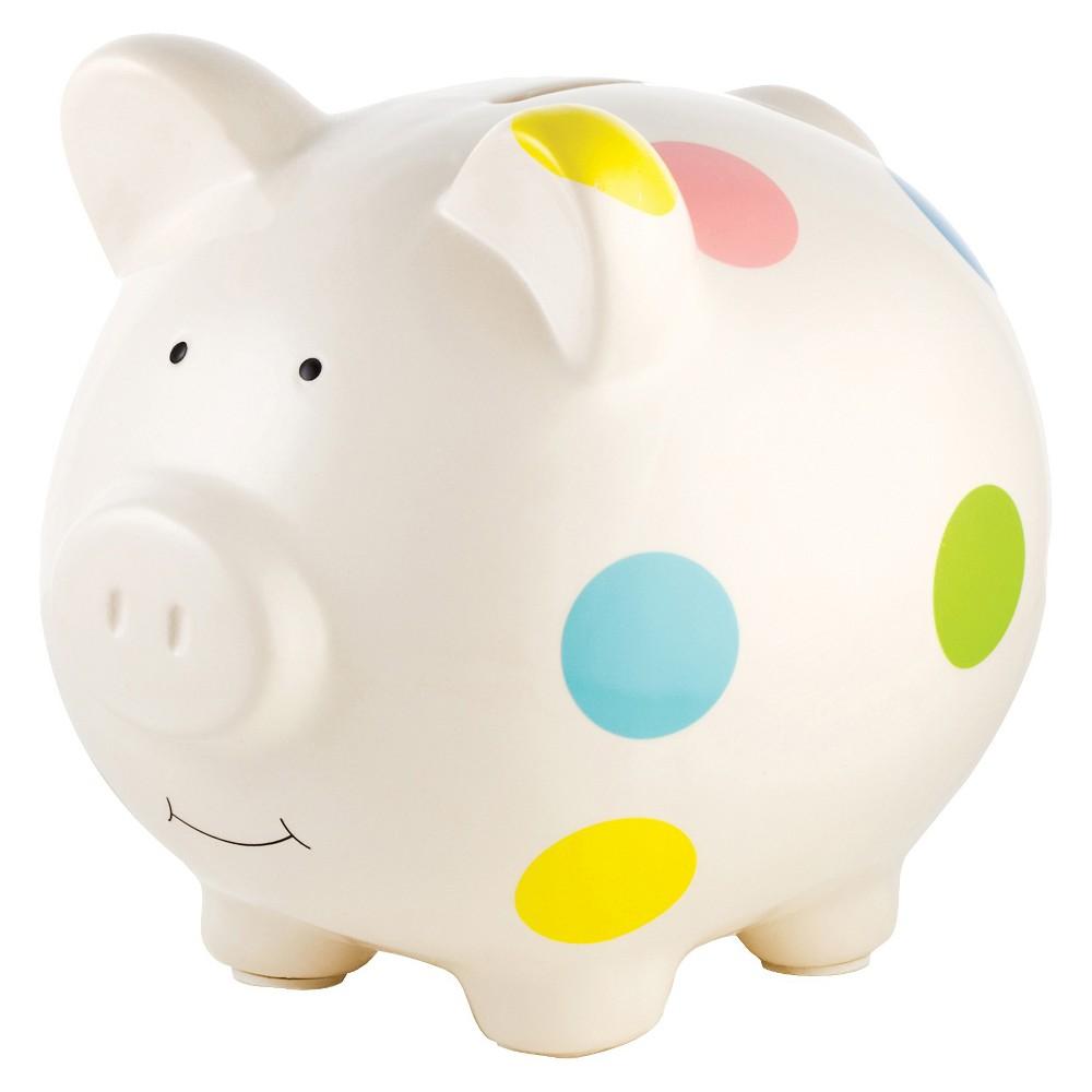 Pearhead Ceramic Piggy Bank - Polka Dot