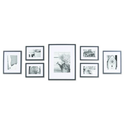 Gallery Solutions 7 Piece Wall Frame Set - Black