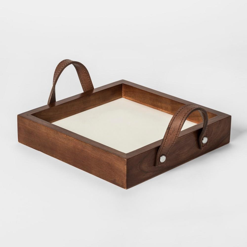 Decorative Tray - Wood/White - Threshold, Brown
