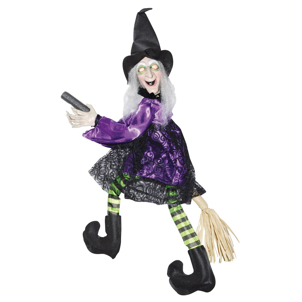 Halloween Flying Witch Animated On Broom, Purple/Black