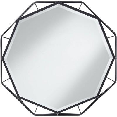 "Uttermost Solanna Matte Black 30"" x 30"" Octagonal Wall Mirror"