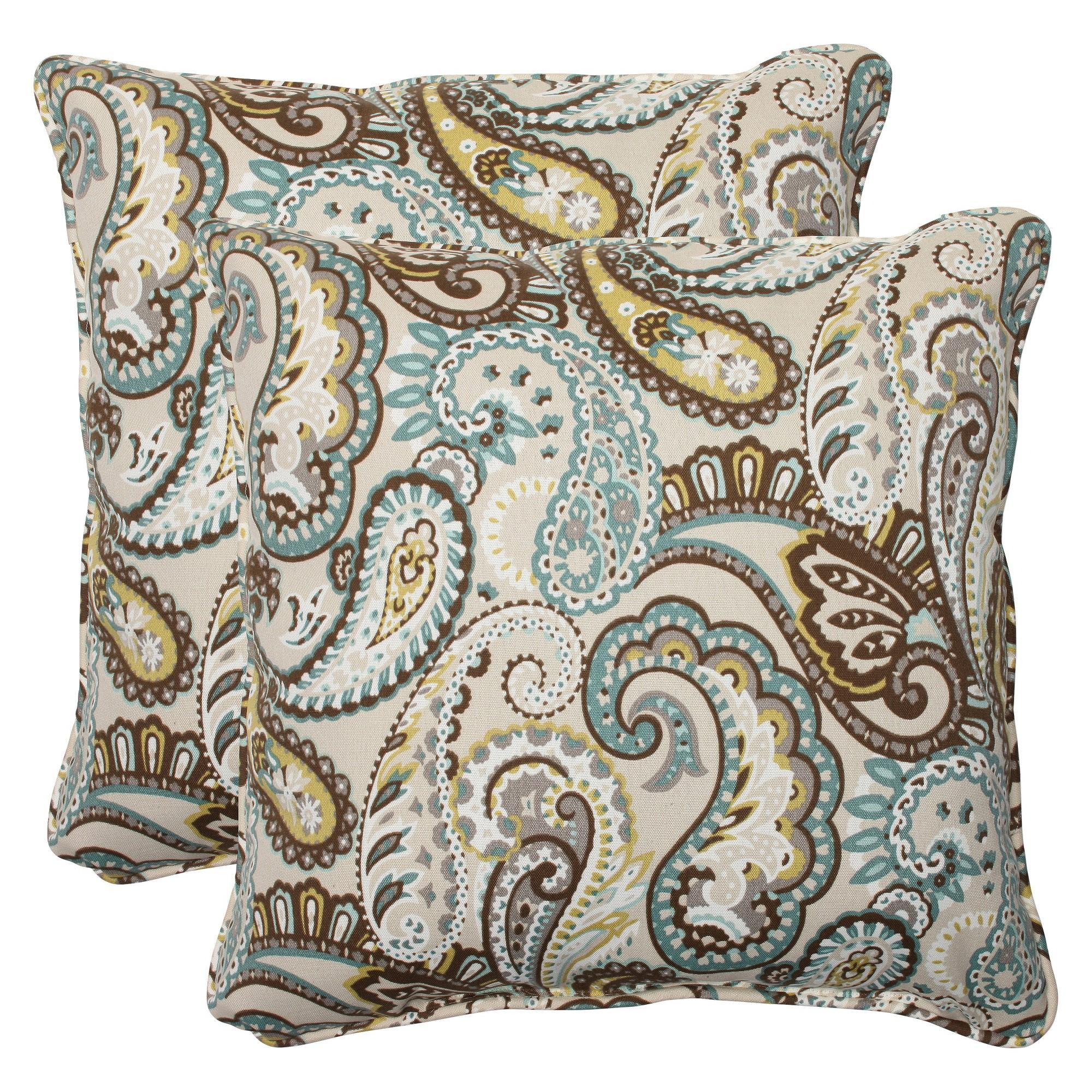 2 Pc Outdoor Square Throw Pillows - Tamara Paisley - Pillow Perfect