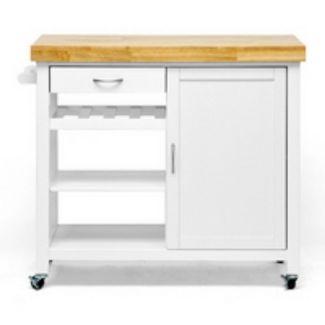 Denver Modern Kitchen Cart White - Baxton Studio