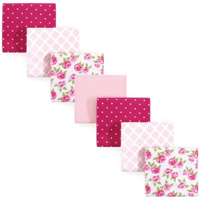 Hudson Baby Unisex Baby Cotton Flannel Receiving Blankets Bundle - Rose One Size