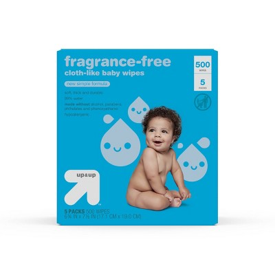 Fragrance Free Cloth-like Baby Wipes - 5pk/500ct Total - up & up™