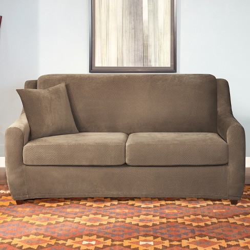 Remarkable Stretch Pique 4Pc Queen Size Sleeper Sofa Slipcover Taupe Sure Fit Download Free Architecture Designs Ponolprimenicaraguapropertycom