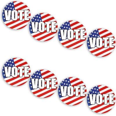 Vote Bumper Sticker, Vinyl Decal (4 x 4 in, 8 Pack)