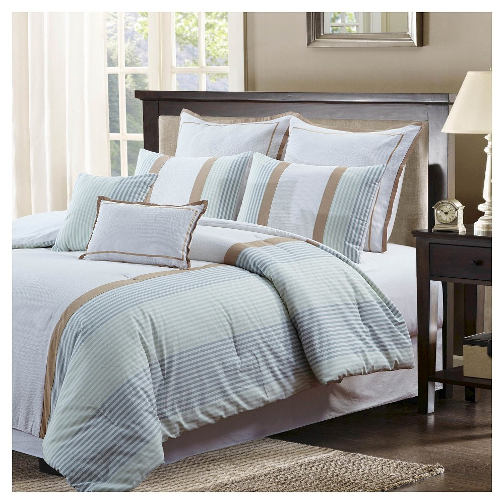 Green Pique Stripe Comforter Set (King) 7 Piece - Style Quarters, Green Beige White