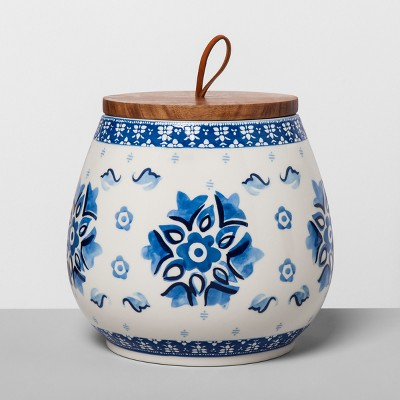 Floral Stoneware Canister with Wood Lid XL Blue/White - Opalhouse™