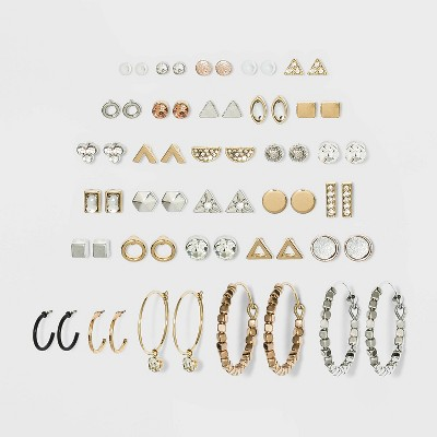Multi Plate and Acrylic Stone Stud Earring Set 30pc - Wild Fable™