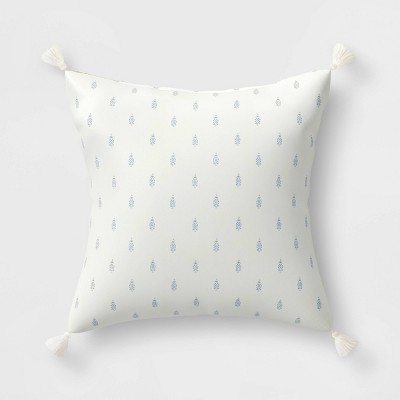 """20"""" Outdoor Reversible Throw Pillow Floral Medallion Light Blue/Woodblock Flower Gray Moon - Threshold™ designed with Studio McGee"""