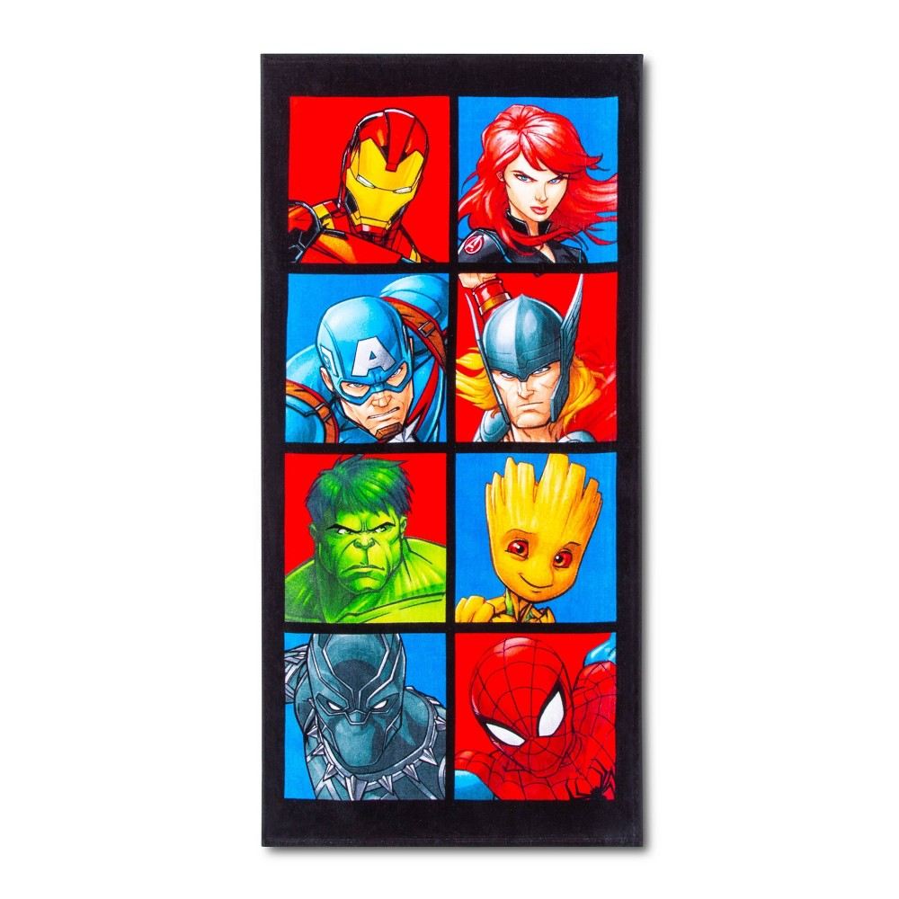 Image of Avengers Faces of Heroes Beach Towel - Marvel